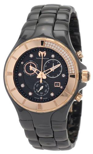 テクノマリーン 腕時計 レディース 110032C TechnoMarine Women's 110032C Cruise Ceramic Chronograph Diamond Gold-Tone Bezel Black Watchテクノマリーン 腕時計 レディース 110032C