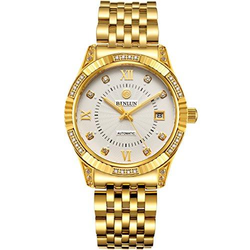 ビンルン 腕時計 メンズ BL0018G-SGW-C 【送料無料】BINLUN 18K Gold Plated Watches for Men Waterproof Luxury Dress Wrist Watch with Dateビンルン 腕時計 メンズ BL0018G-SGW-C