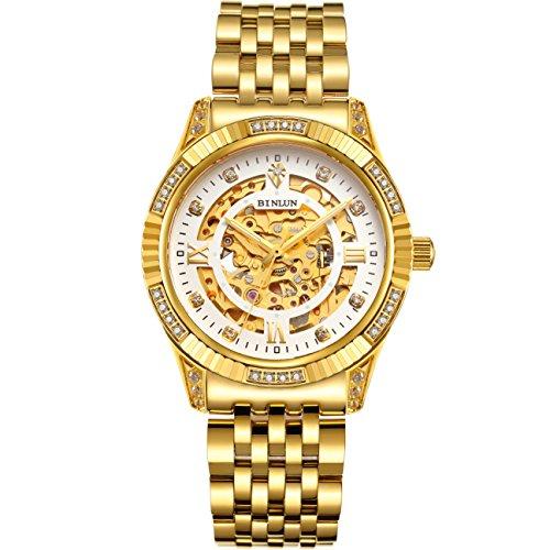 ビンルン 腕時計 メンズ BL0018G-SGW-A 【送料無料】BINLUN Men's Gold Automatic Luxury Skeleton Watches Gift to Fatherビンルン 腕時計 メンズ BL0018G-SGW-A