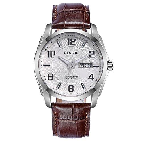 ビンルン 腕時計 メンズ BL0020BRW BINLUN Automatic Watches for Men Outdoor Brown Leather Waterproof Mechanical Watch with Day Dateビンルン 腕時計 メンズ BL0020BRW