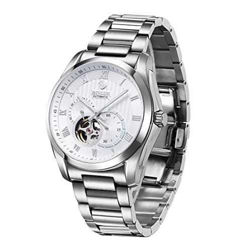 ビンルン 腕時計 メンズ BL0020G-SSW-B BINLUN Mens Automatic Watch Silver Stainless Steel Waterproof Skeleton Watch GMT 24-Hour Display?ビンルン 腕時計 メンズ BL0020G-SSW-B