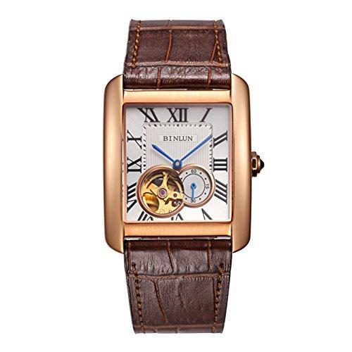 ビンルン 腕時計 メンズ BL0067G-LRWC-B BINLUN Mens Automatic Watches for Men Rectangle Brown Leather 18k Rose Gold Mechanical Skeleton Watchビンルン 腕時計 メンズ BL0067G-LRWC-B