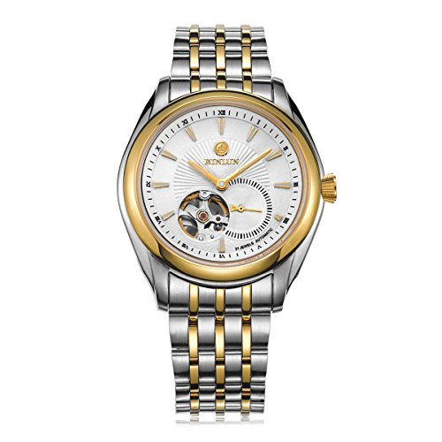 ビンルン 腕時計 メンズ BL0021GW BINLUN Gold Pated Skeleton Watch Waterproof Automatic Watches for Men with Two Tone Stainless Steel Bandビンルン 腕時計 メンズ BL0021GW