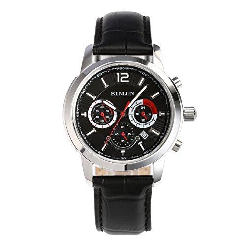 ビンルン 腕時計 メンズ BL0063B BINLUN Military?Quartz Sports Watches for Men Army Waterproof Watch with Date Black Leather Strapビンルン 腕時計 メンズ BL0063B