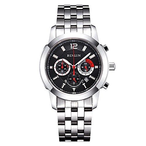 腕時計 ビンルン メンズ BL0063SB 【送料無料】BINLUN Military?Quartz Sports Watches for Men Stainless Steel Army Waterproof Watch with Date腕時計 ビンルン メンズ BL0063SB