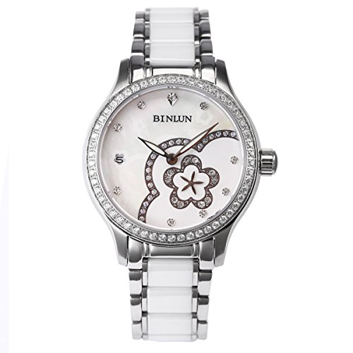 ビンルン 腕時計 レディース BL0071LS BINLUN Women's Waterproof Wrist Watch Silver White Ceramic Bands Diamond Dress Watches Ladiesビンルン 腕時計 レディース BL0071LS
