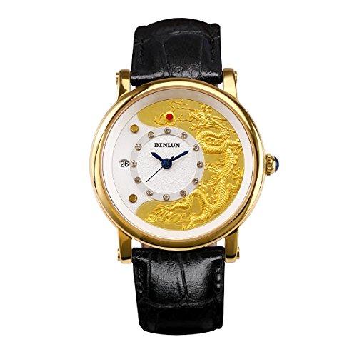 ビンルン 腕時計 メンズ BL0073GB BINLUN Mens 18k Gold Watches Waterproof Mechanical Watch Large Face with Date Black Leather Strapビンルン 腕時計 メンズ BL0073GB