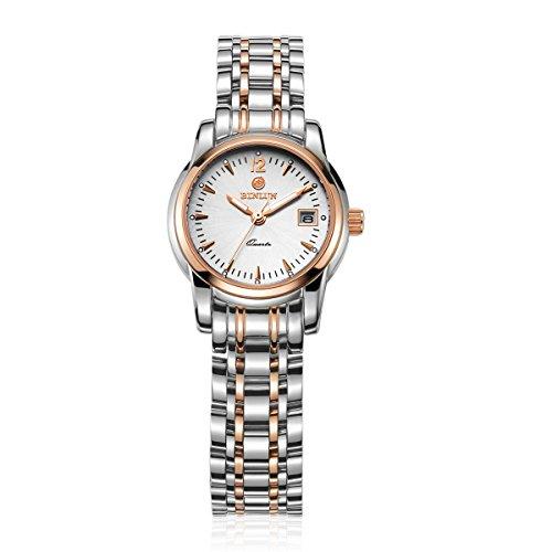 ビンルン 腕時計 レディース BL0049RG 【送料無料】Binlun Office Lady Favorite Two Tone Rose Red Stainless Steel Wrist Watch with Dateビンルン 腕時計 レディース BL0049RG