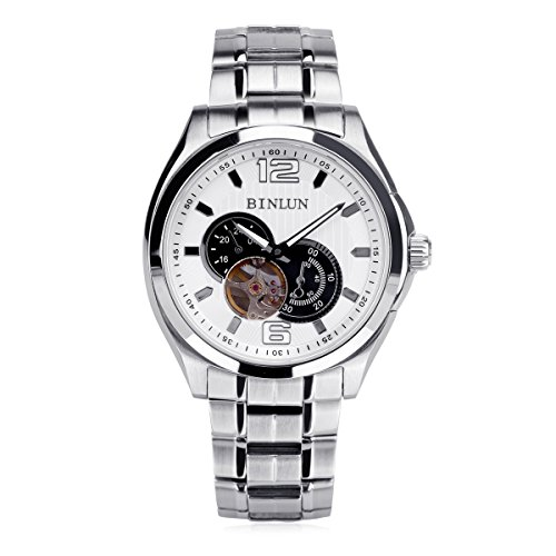 ビンルン 腕時計 メンズ BL0027SW BINLUN Mens Skeleton Automatic Watches Analog Luminous Silver Stainless Steel Waterproof Watchビンルン 腕時計 メンズ BL0027SW