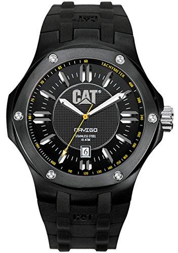 キャタピラー タフネス 腕時計 メンズ 頑丈 A116121121 CAT Men's A116121121 Navigo Date Black Analog Dial with Black Rubber Strap Watchキャタピラー タフネス 腕時計 メンズ 頑丈 A116121121