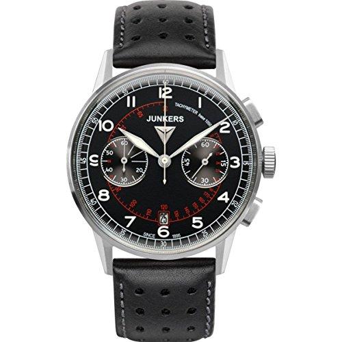 ユンカース ドイツ 腕時計 メンズ 6970-2 【送料無料】Junkers 6970-2 Mens G38 Black Leather Chronograph Watchユンカース ドイツ 腕時計 メンズ 6970-2