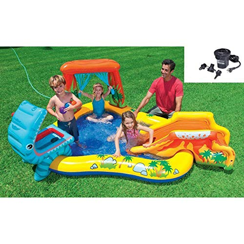 プール ビニールプール ファミリープール オーバルプール 家庭用プール Intex Dinosaur Play Center Inflatable Kids Swimming Pool + Quick Fill Air Pumpプール ビニールプール ファミリープール オーバルプール 家庭用プール