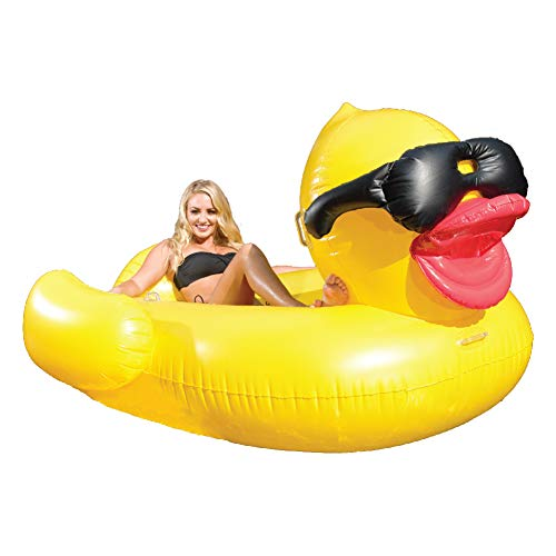 """フロート プール 水遊び 浮き輪 5000 GAME 5000 Giant Derby Duck, Inflatable Balloon Animal Pool Float, Quick-Fill Valves, 300-Pound Capacity, Built-in Cup Holders, 81"""" L x 76"""" W x 44"""" Tフロート プール 水遊び 浮き輪 5000"""