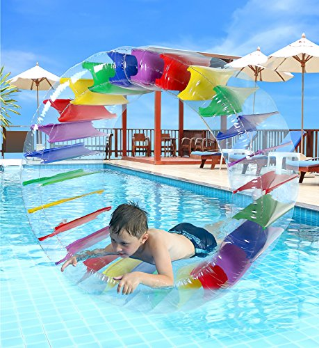 フロート プール 水遊び 浮き輪 CNP2165 Greenco Kids Colorful Inflatable Water Wheel Roller Float 52