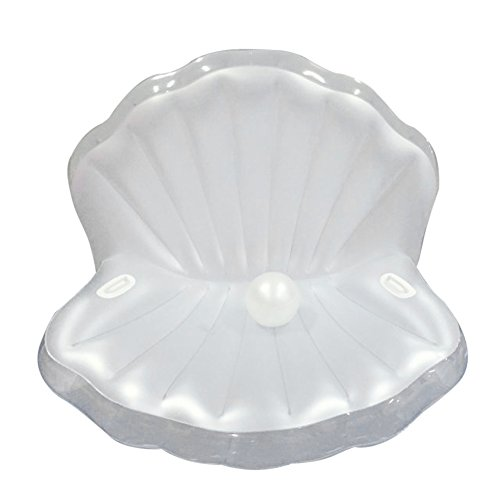 フロート プール 水遊び 浮き輪 GDAE10 Inflatable Pearl Pool Float, Giant Shell with Rapid Valves Summer Water Sport Raft Toy For Adults Kids,Suitable For Beach Swimming Pool - Pearl By FBA (Pearl White / White Handlesフロート プール 水遊び 浮き輪