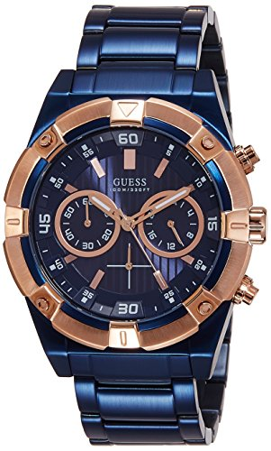 Rose Iconic Plated Chronograph GUESS Accents腕時計 GUESS Gold-Tone メンズ W0377G4 Watch Blue W0377G4 メンズ Case ゲス W0377G4 【送料無料】GUESS with Men's ゲス 腕時計 &