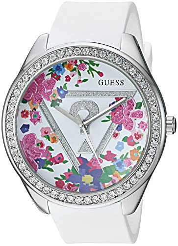 ゲス GUESS 腕時計 レディース U0904L1 【送料無料】GUESS Women's U0904L1 Trendy Silver-Tone Watch with White Dial and Silicone Bandゲス GUESS 腕時計 レディース U0904L1