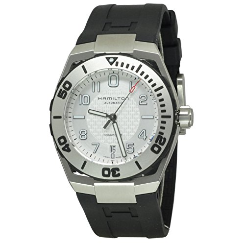 腕時計 ハミルトン メンズ HAMILTON-H78615355 【送料無料】Hamilton H78615355 Men's Khaki Navy Automatic Black Rubber Silver-Tone Dial Watch腕時計 ハミルトン メンズ HAMILTON-H78615355
