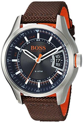 ヒューゴボス 高級腕時計 メンズ 1550002 【送料無料】HUGO BOSS Men's Hong Kong Sport Stainless Steel Quartz Watch with Nylon Strap, Brown, 21 (Model: 1550002)ヒューゴボス 高級腕時計 メンズ 1550002