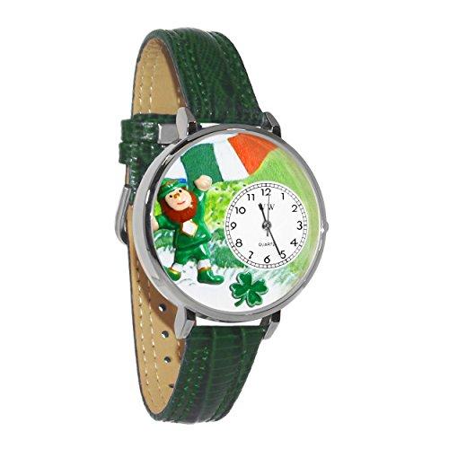 気まぐれな腕時計 かわいい プレゼント クリスマス ユニセックス 【送料無料】St. Patrick's Day w/Irish Flag Hunter Green Leather and Silvertone Watch #WG-U1224001気まぐれな腕時計 かわいい プレゼント クリスマス ユニセックス