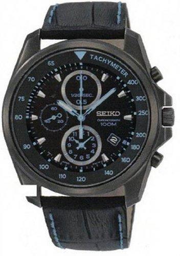 セイコー 腕時計 メンズ Mens Watch Seiko SNDD71 Black Stainless Steel Case Leather Strap Black Dial Chrセイコー 腕時計 メンズ