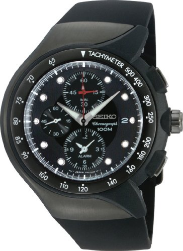 セイコー 腕時計 メンズ SNAD63 Seiko Men's SNAD63 Alarm Chronograph Black Ion Finish Urethane Strap Watchセイコー 腕時計 メンズ SNAD63