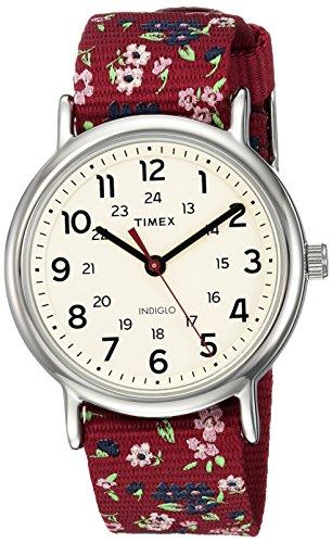 タイメックス 腕時計 レディース TW2R29700 Timex Women's TW2R29700 Weekender Violet Floral Reversible Nylon Slip-Thru Strap Watchタイメックス 腕時計 レディース TW2R29700
