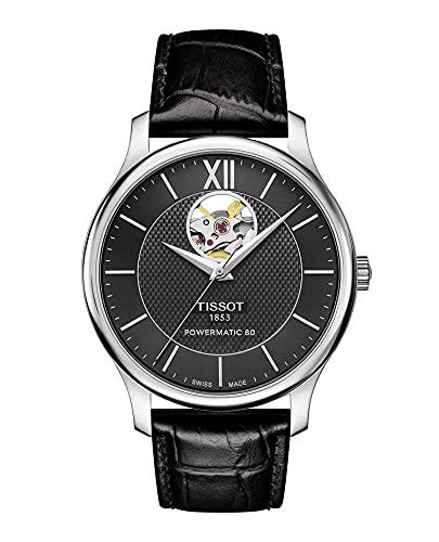 腕時計 ティソ メンズ T0639071605800 【送料無料】Tissot Tradition Powermatic 80 Open Heart - T0639071605800 Black/Black One Size腕時計 ティソ メンズ T0639071605800