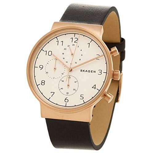 スカーゲン 腕時計 メンズ SKW6371 【送料無料】Skagen Men's SKW6371 Ancher Black Leather Chronograph Watchスカーゲン 腕時計 メンズ SKW6371