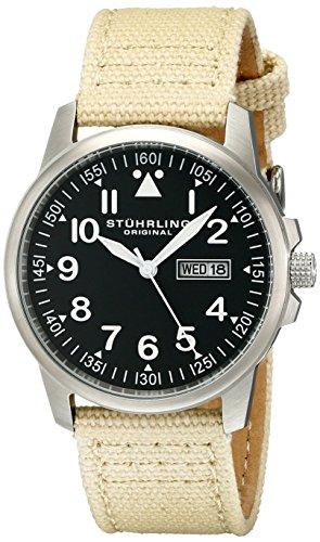 ストゥーリングオリジナル 腕時計 メンズ 850.02 Stuhrling Original Men's 850.02 Analog Quartz Beige Canvas & Leather Watchストゥーリングオリジナル 腕時計 メンズ 850.02