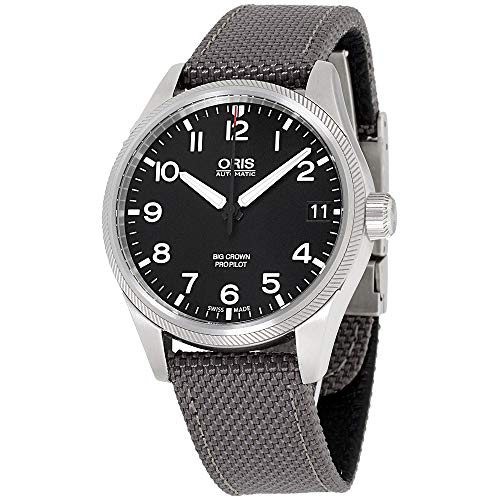 オリス 腕時計 メンズ 【送料無料】Oris Big Crown ProPilot Automatic Black Dial Grey Fabric Mens Watch 751-7697-4164GYFSオリス 腕時計 メンズ