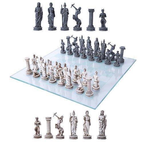 ボードゲーム 英語 アメリカ 海外ゲーム Ebros Greek Mythology Chess Set Olympian Gods And Demigods Zeus Hera Olympus Army Resin Chess Pieces With Glass Board Setボードゲーム 英語 アメリカ 海外ゲーム