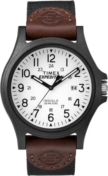 タイメックス 腕時計 メンズ TW4B08200 【送料無料】Timex Men's TW4B08200 Expedition Acadia Black/Brown/White Leather/Nylon Strap Watchタイメックス 腕時計 メンズ TW4B08200