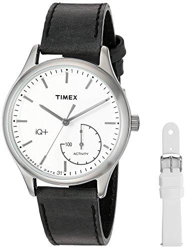 タイメックス 腕時計 レディース TWG013700 【送料無料】Timex Women's TWG013700 IQ+ Move Activity Tracker Black Leather Strap Smartwatch Set With Extra White Silicone Strapタイメックス 腕時計 レディース TWG013700