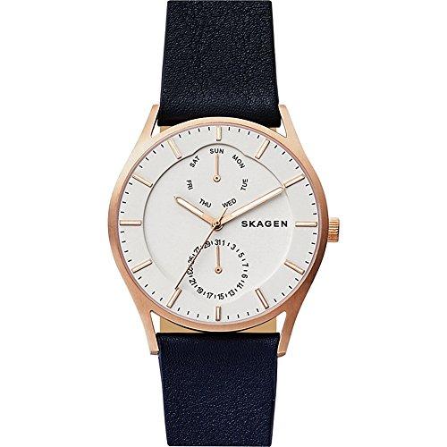 スカーゲン 腕時計 メンズ SKW6372 Skagen Men's Holst Quartz Stainless Steel and Leather Casual Watch, Color: Rose Gold-Tone, Blue (Model: SKW6372)スカーゲン 腕時計 メンズ SKW6372