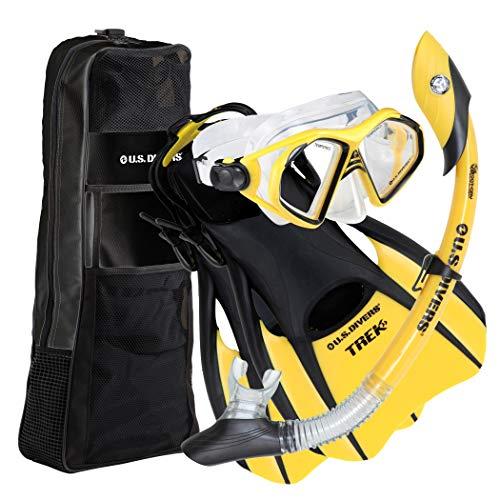 シュノーケリング マリンスポーツ 240410 U.S. Divers Adult Admiral LX Mask/Island Dry Snorkel/Trek Fins/Travel Bag,Yellow,Small (Men (4-7),Women(5.5-8.5))シュノーケリング マリンスポーツ 240410