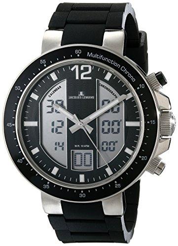 腕時計 ジャックルマン オーストリア メンズ ケビンコスナー愛用 1-1726A 【送料無料】Jacques Lemans Men's 1-1726A Milano Analog-Digital Display Quartz Black Watch腕時計 ジャックルマン オーストリア メンズ ケビンコスナー愛用 1-1726A