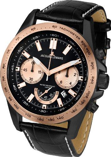 腕時計 ジャックルマン オーストリア メンズ ケビンコスナー愛用 1-1756F 【送料無料】Jacques Lemans Powerchrono 1-1756F 48mm Rose Gold Tone Case Leather Mineral Men's Watch腕時計 ジャックルマン オーストリア メンズ ケビンコスナー愛用 1-1756F
