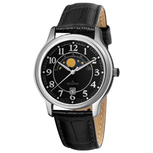 """グロバナ スイスウォッチ 腕時計 メンズ 1026-1537 【送料無料】Grovana Men""""s 1026-1537 Moonphase Analog Display Swiss Quartz Black Watchグロバナ スイスウォッチ 腕時計 メンズ 1026-1537"""