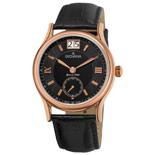 腕時計 グロバナ スイスウォッチ メンズ 1725-1567 【送料無料】Grovana Men's 1725-1567 Traditional Analog Display Swiss Quartz Black Watch腕時計 グロバナ スイスウォッチ メンズ 1725-1567