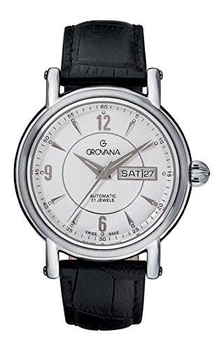 グロバナ スイスウォッチ 腕時計 メンズ 1160-2532 Grovana Men's 'Automatic' Swiss Quartz Stainless Steel and Leather Casual Watch, Color:Black (Model: 1160-2532)グロバナ スイスウォッチ 腕時計 メンズ 1160-2532