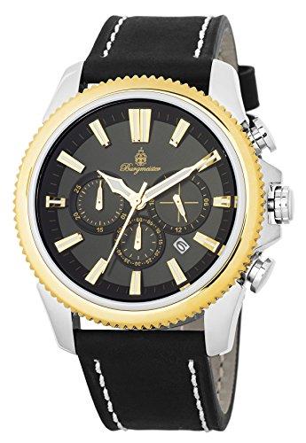 腕時計 ブルゲルマイスター メンズ ドイツ高級腕時計 BMT03-922 【送料無料】Burgmeister Men's Stainless Steel Japanese-Quartz Watch with Leather Calfskin Strap, Black, 23 (Model: BMT03-922腕時計 ブルゲルマイスター メンズ ドイツ高級腕時計 BMT03-922