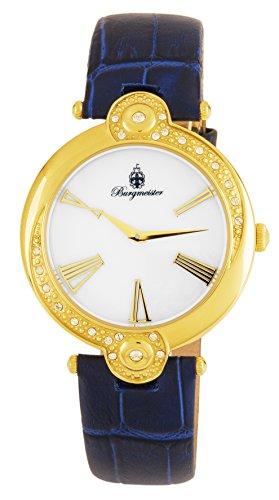 ブルゲルマイスター ドイツ高級腕時計 レディース BM811-283 【送料無料】Burgmeister Women's Stainless Steel Japanese-Quartz Watch with Leather Calfskin Strap, Blue, 24 (Model: BM811-283ブルゲルマイスター ドイツ高級腕時計 レディース BM811-283