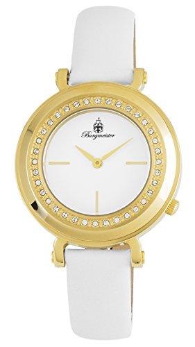 ブルゲルマイスター ドイツ高級腕時計 レディース BM809-286 Burgmeister Women's Stainless Steel Japanese-Quartz Watch with Leather Calfskin Strap, White, 24 (Model: BM809-286ブルゲルマイスター ドイツ高級腕時計 レディース BM809-286