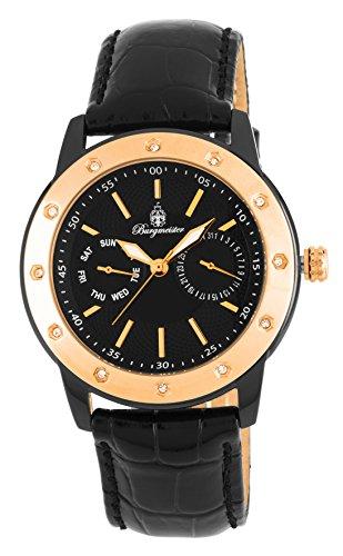 腕時計 ブルゲルマイスター レディース ドイツ高級腕時計 BM807-622 【送料無料】Burgmeister Women's Stainless Steel Japanese-Quartz Watch with Leather Calfskin Strap, Black, 24 (Model:腕時計 ブルゲルマイスター レディース ドイツ高級腕時計 BM807-622