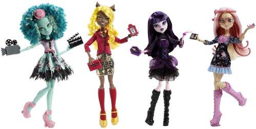 モンスターハイ 人形 ドール Monster High Frights, Camera, Action! Set of 4 Viperine Gorgon, Elissabat, Clawdia Wolf and Honey Swap!モンスターハイ 人形 ドール