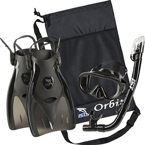 シュノーケリング マリンスポーツ IST Orbit Snorkeling Gear Set: Tempered Glass Mask, Dry Top Snorkel & Trek Fins for Compact Travel (Black Silicone/Black, Medium)シュノーケリング マリンスポーツ