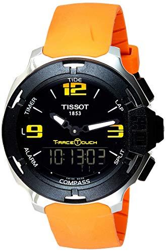 ティソ 腕時計 メンズ T0814201705702 Tissot Black Dial Stainless Steel Orange Rubber Men's Watch T0814201705702ティソ 腕時計 メンズ T0814201705702