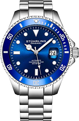 ストゥーリングオリジナル 腕時計 メンズ Stuhrling Original Mens Stainless Steel Automatic Self Wind Dive Watch Deep Blue Dial 200M Water Resistant Unidirectional Ratcheting Bezel Screw Down Crown Sport Watch 792 ストゥーリングオリジナル 腕時計 メンズ