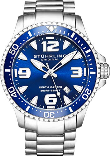 ストゥーリングオリジナル 腕時計 メンズ 1.91E+11 Stuhrling Original Mens Swiss Quartz Stainless Steel Professional Sport Dive Watch, Water-Resistant 200 Meters, Blue Dial, Easy-Adjustable Bracelet, Screwストゥーリングオリジナル 腕時計 メンズ 1.91E+11